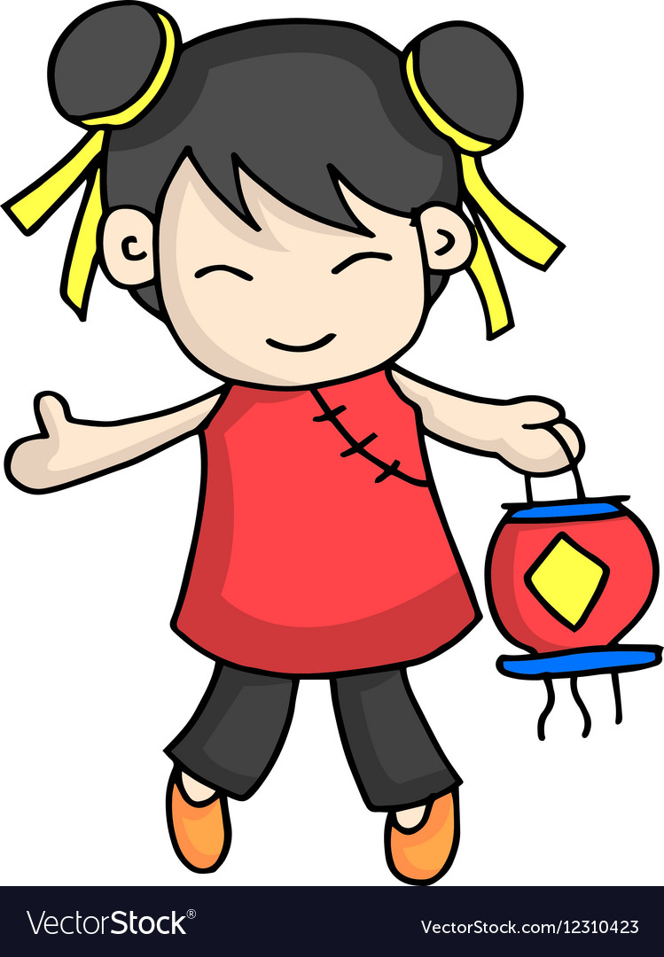 Cute character for Chinese theme vector image