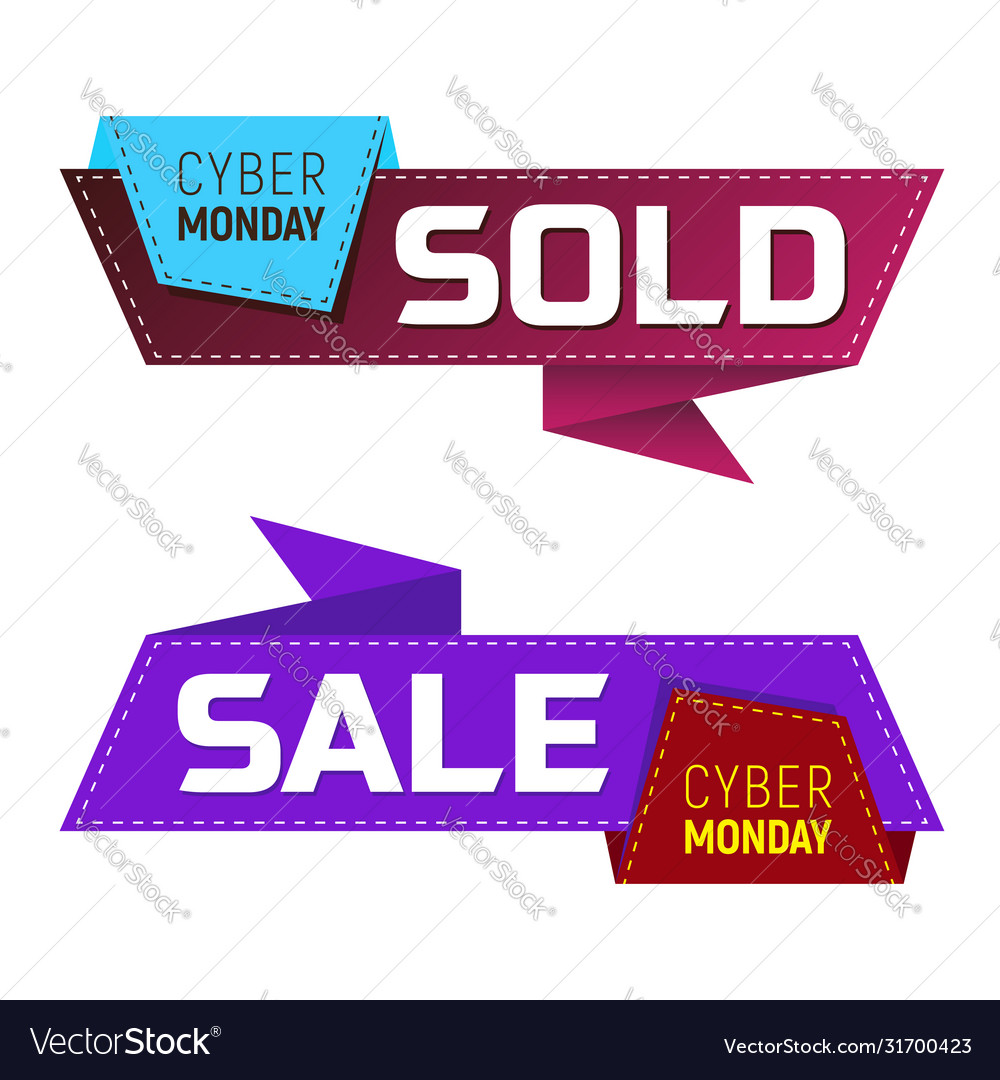 Cyber monday sold and sale banners or labels