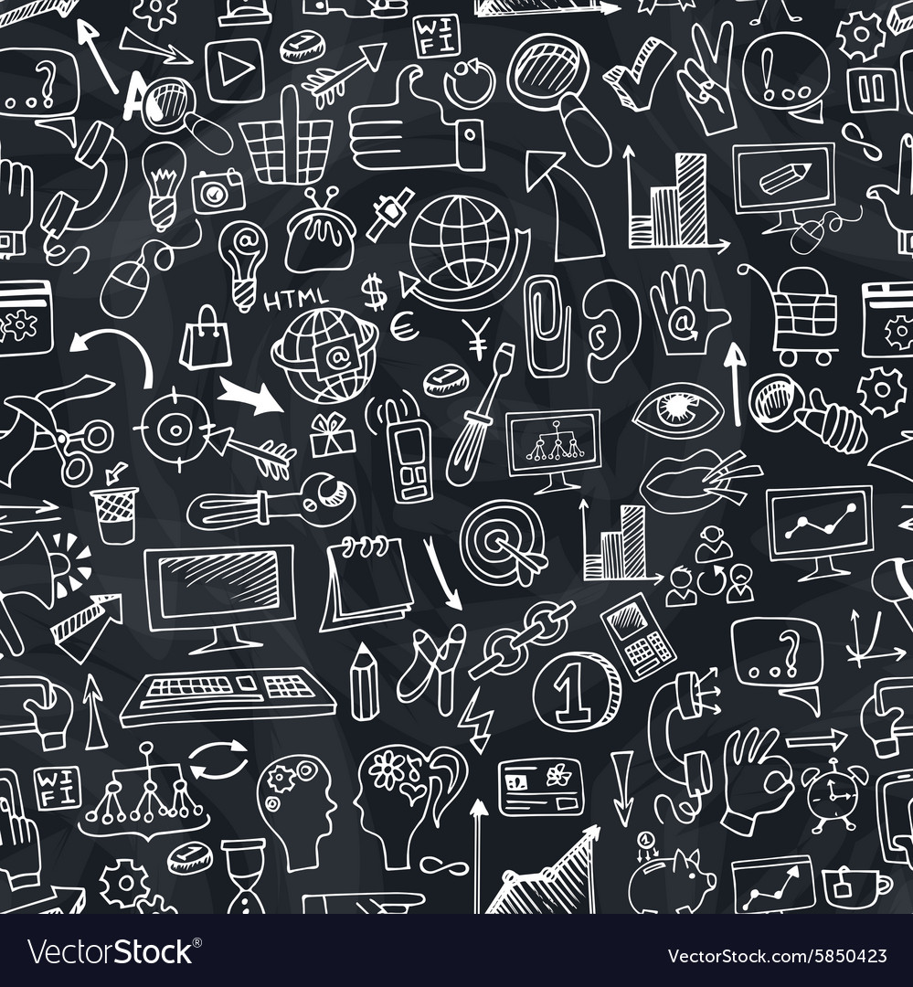 Doodle seo icons in seamless pattern on chalkboard