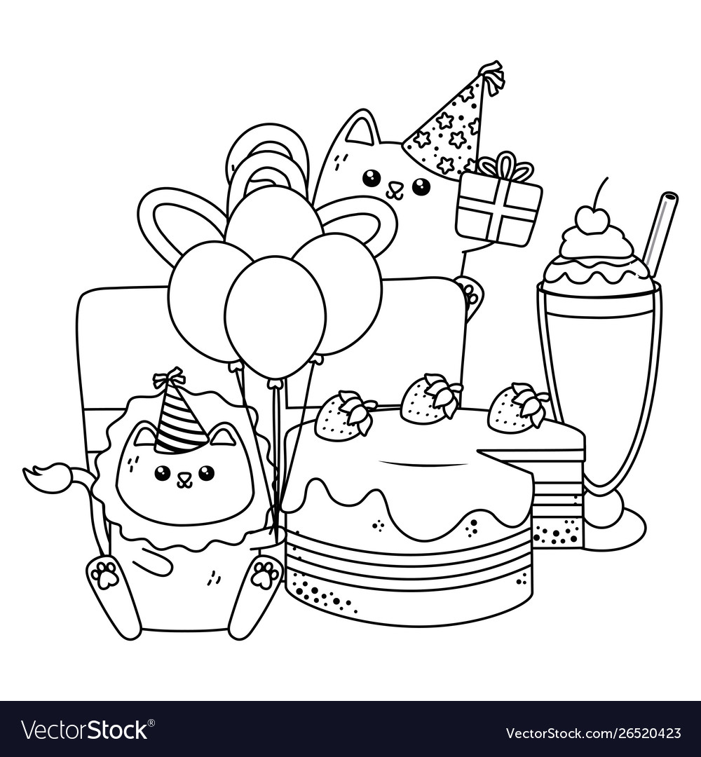 Lion and cat in happy birthday celebration