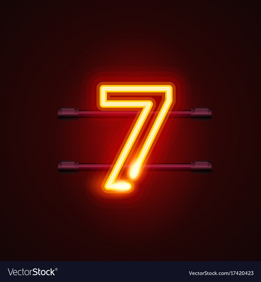 Neon city font sign number 7 signboard seven
