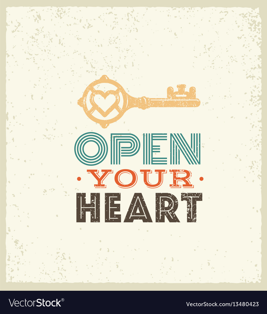 Open your heart cute whimsical motivation quote vector image