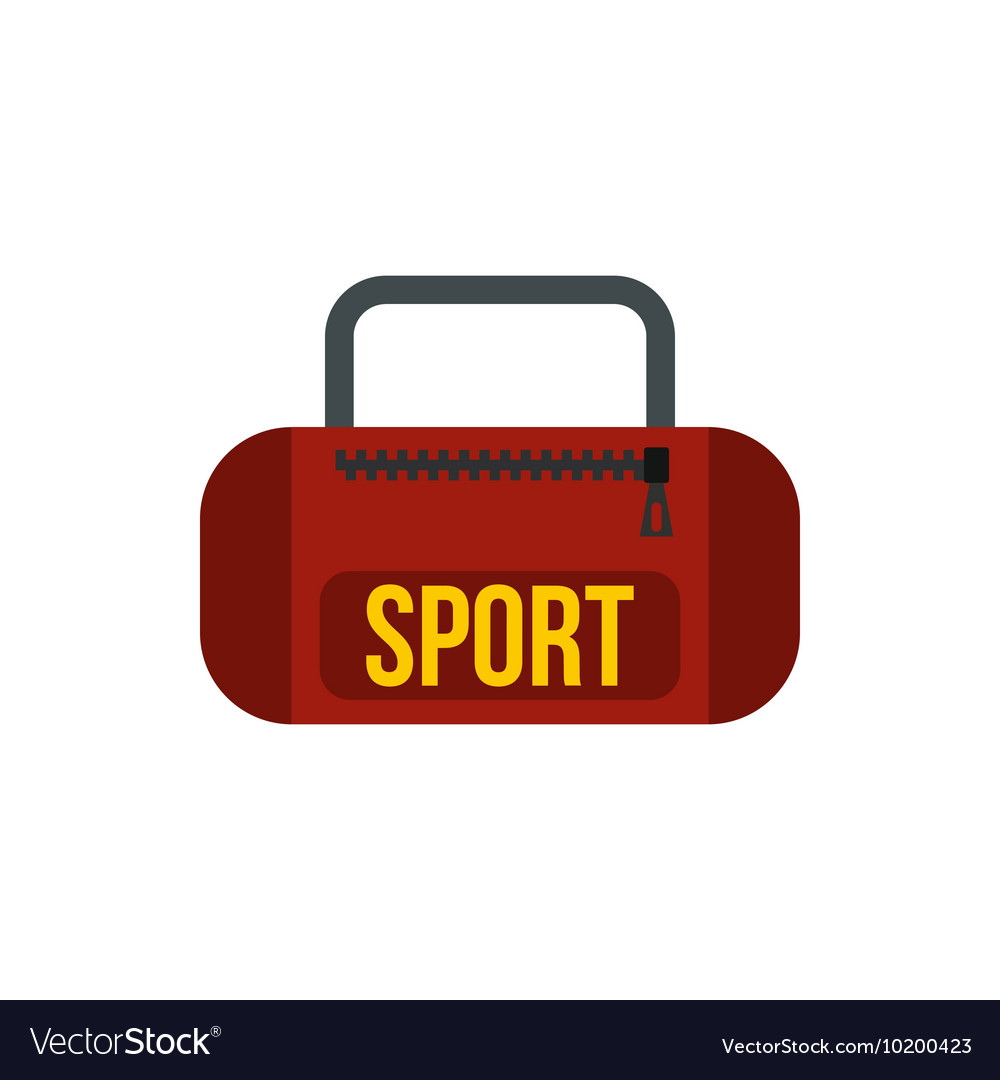 Red sports bag icon in flat style