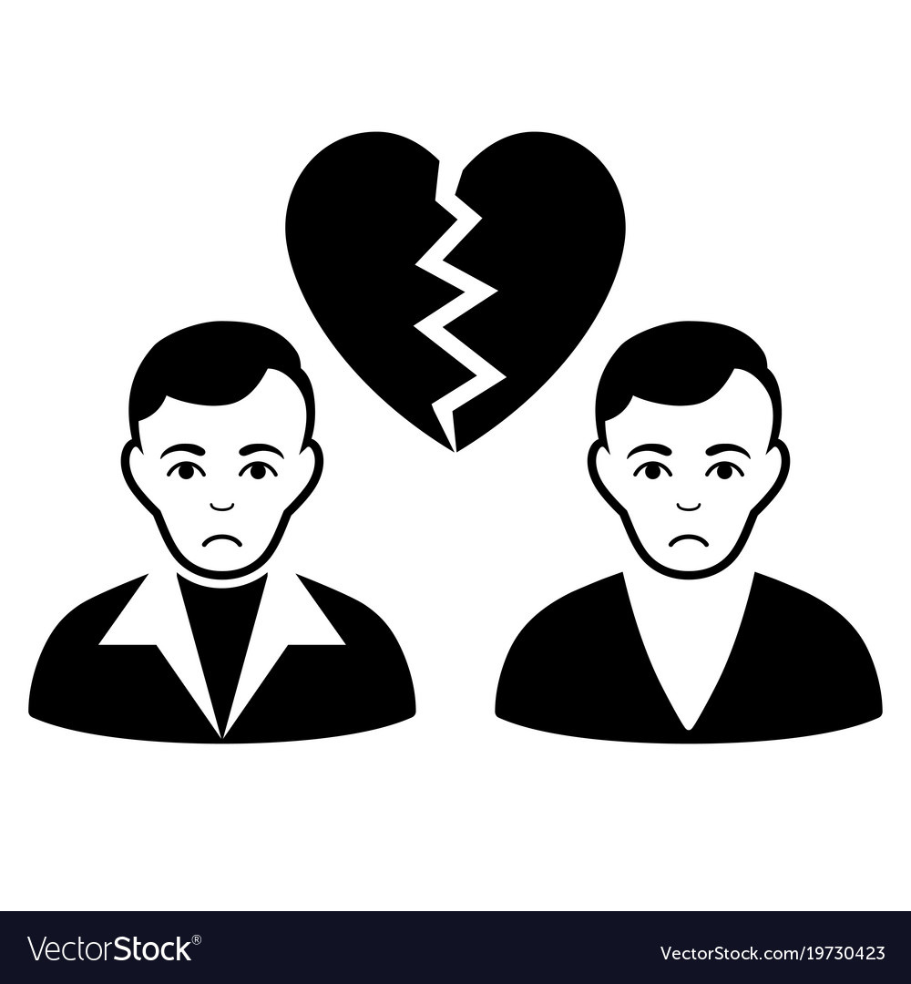 Sad Divorce Gays Black Icon Royalty Free Vector Image