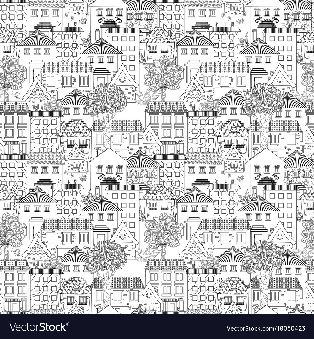 Seamless texture with cute houses and trees for