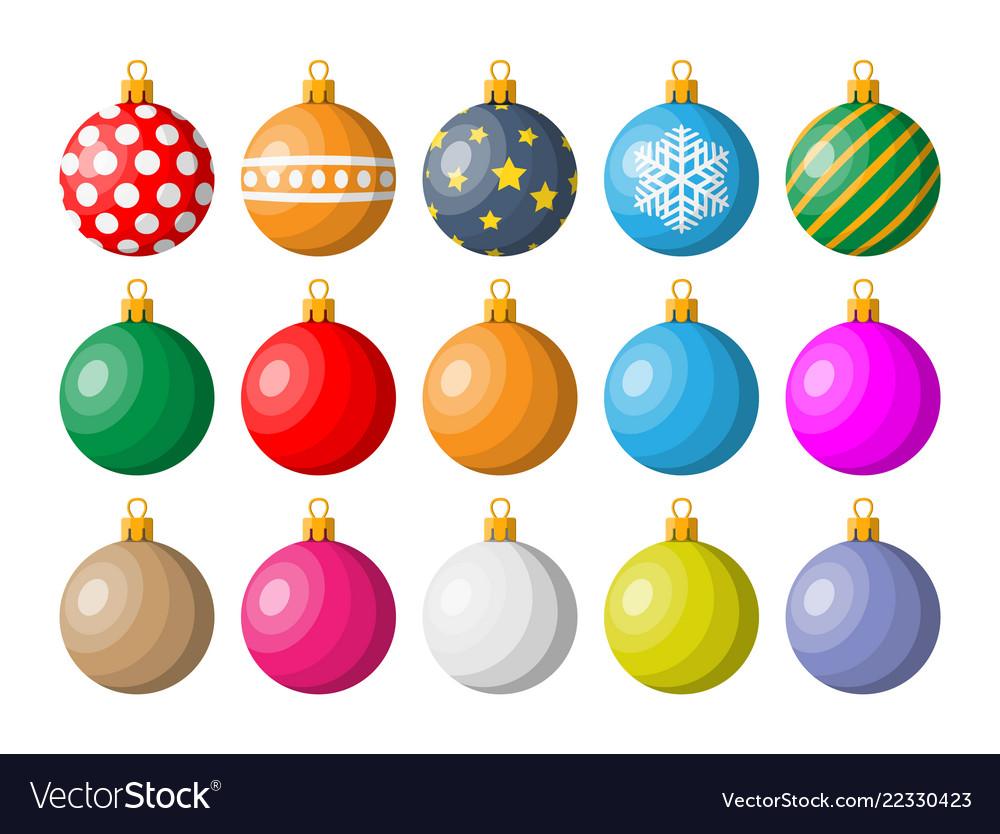 Set of christmas balls on white background