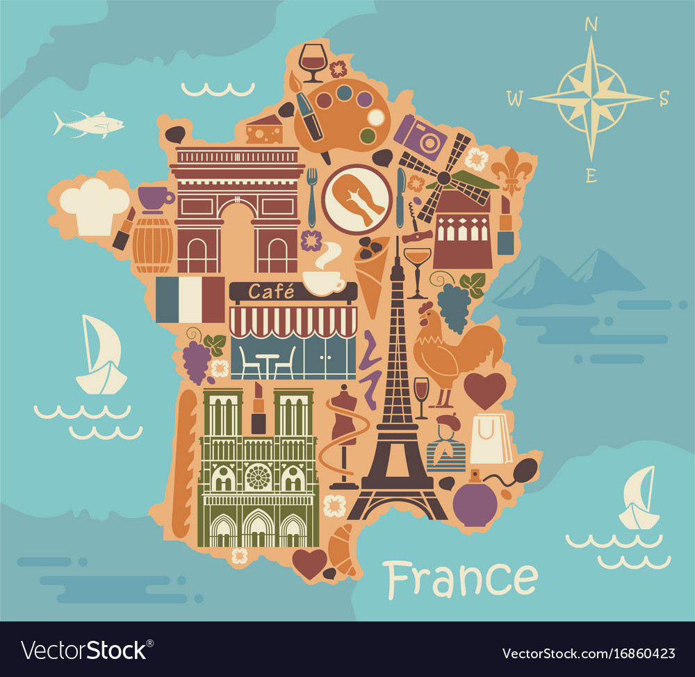 Symbols of france in the form of a stylized maps vector image