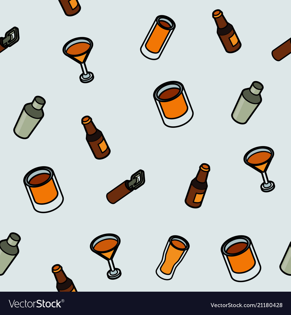 Alcohol color outline isometric pattern