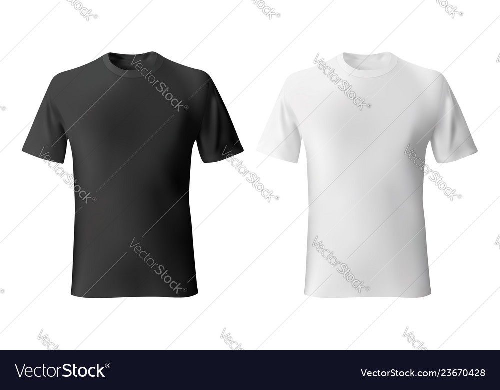Black And White Mens T Shirt Template Realistic Vector Image