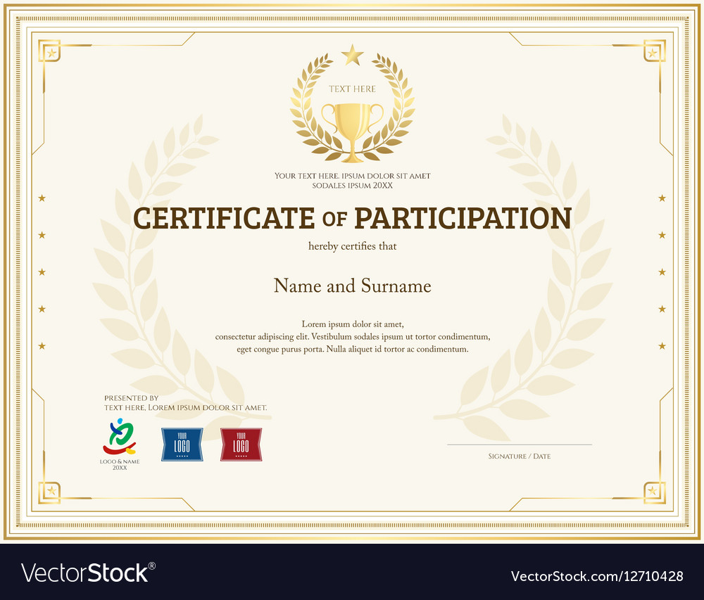 Certificate Of Participation Template Gold Theme Vector Image