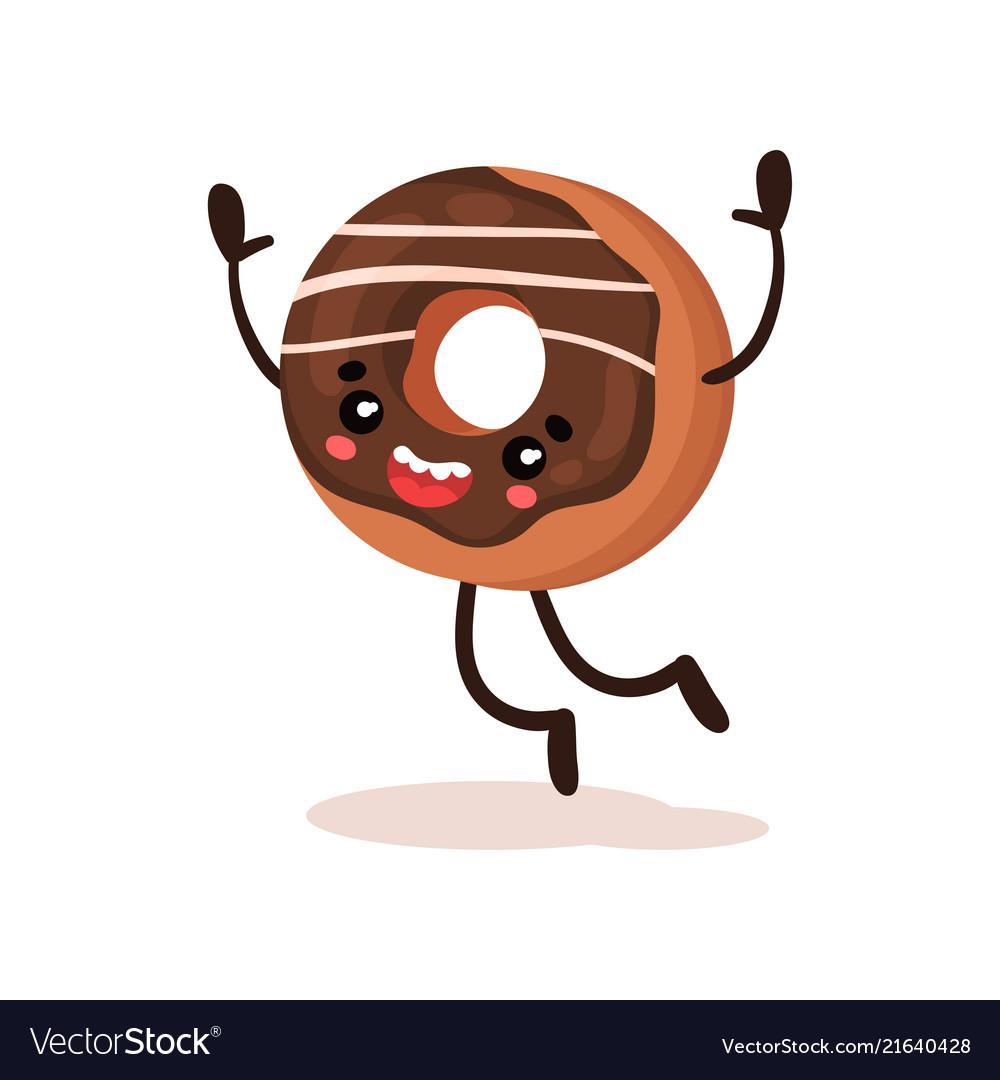 Cute funny donut humanized dessert cartoon Vector Image