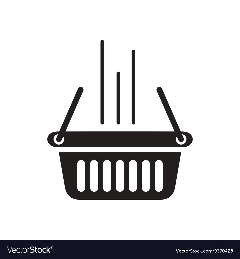 Flat icon in black and white shopping basket
