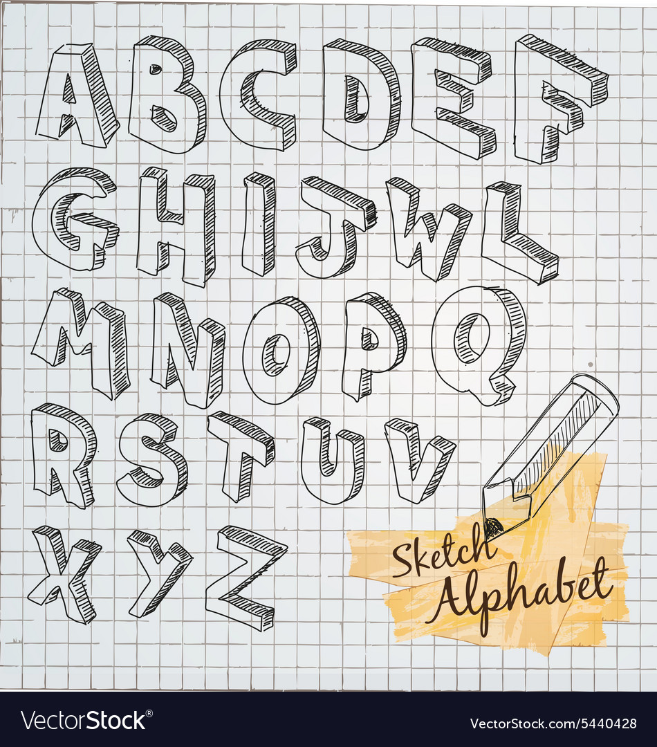 Hand Drawn 3d Sketch Alphabet Royalty Free Vector Image
