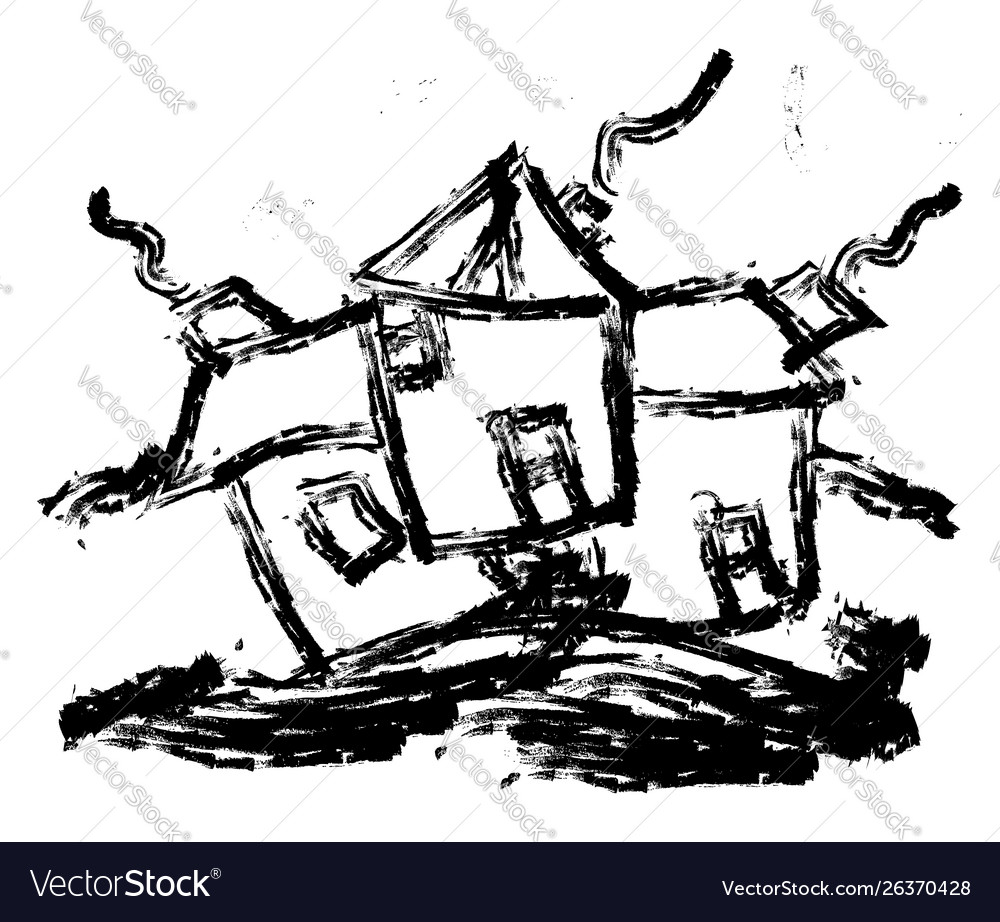 House drawing on white background
