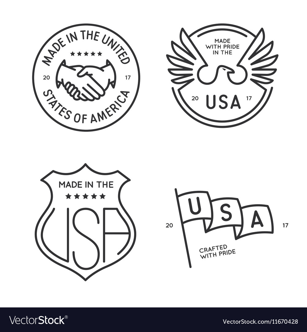 Made in usa labels badges stamps set
