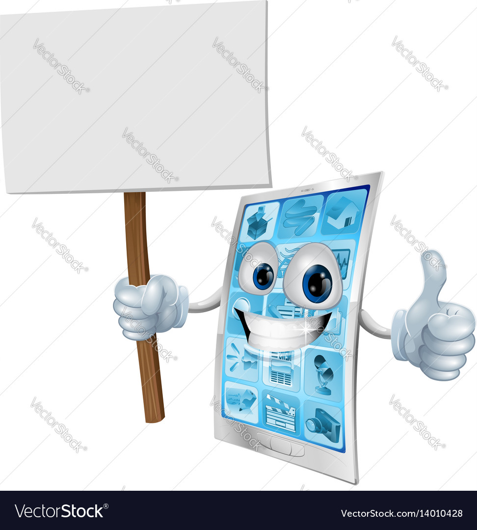 Mobile phone mascot holding sign vector image