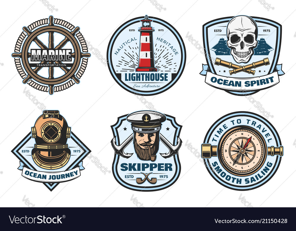 Nautical retro badge of sea anchor helm and rope