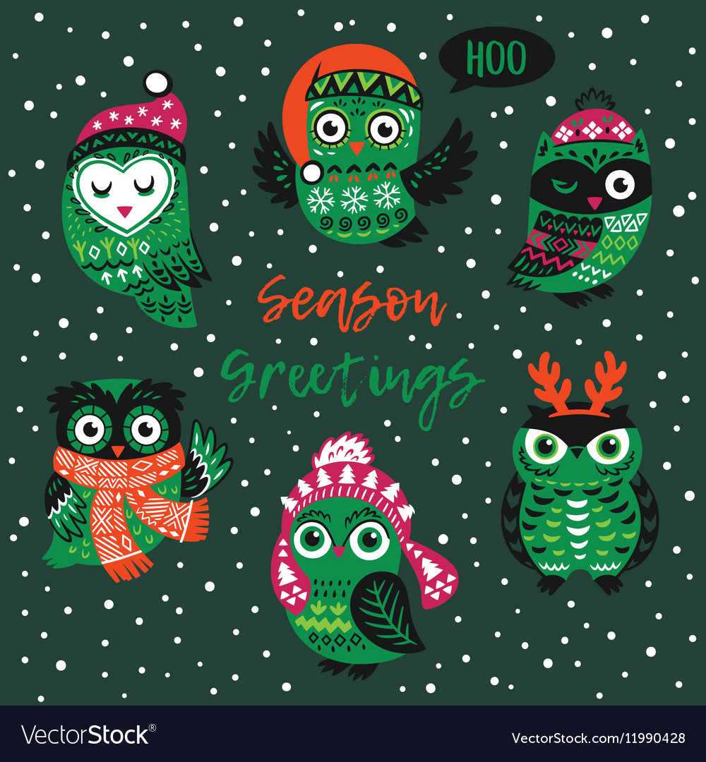 Season Greetings Card With Owls Royalty Free Vector Image
