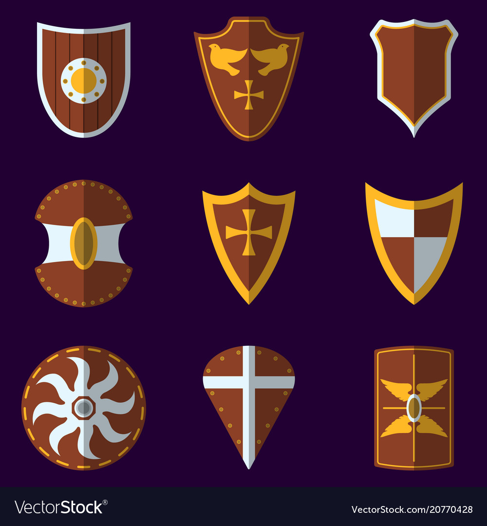 Set of medieval shield icon and label flat style