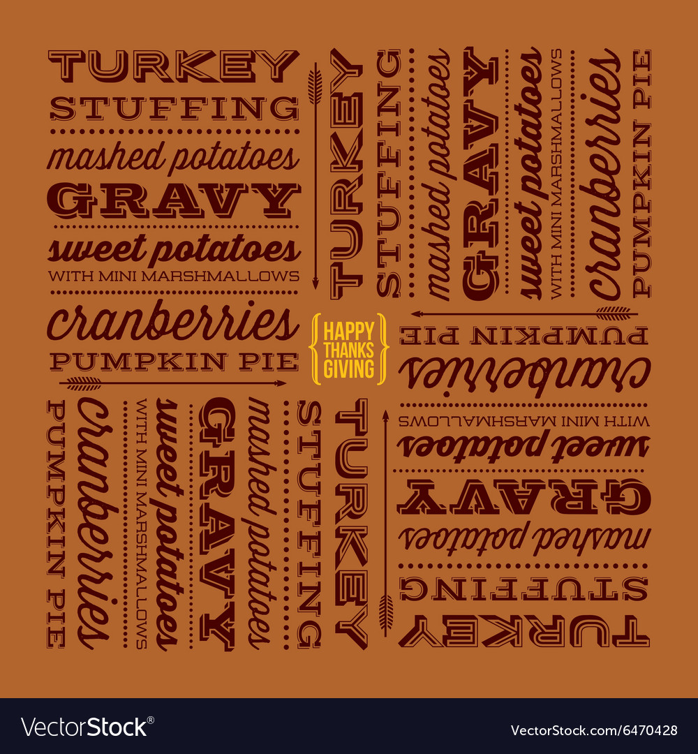 Thanksgiving greeting card with retro fonts