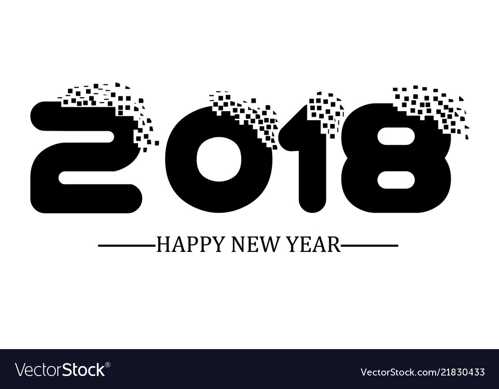 2018 happy new year black simple scraps style vector image