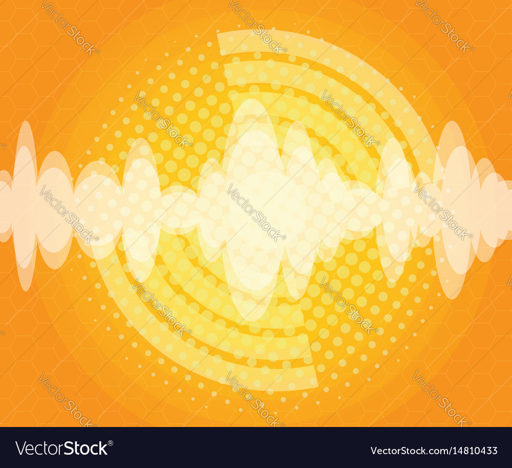 Abstract sound wave with halftone background vector image
