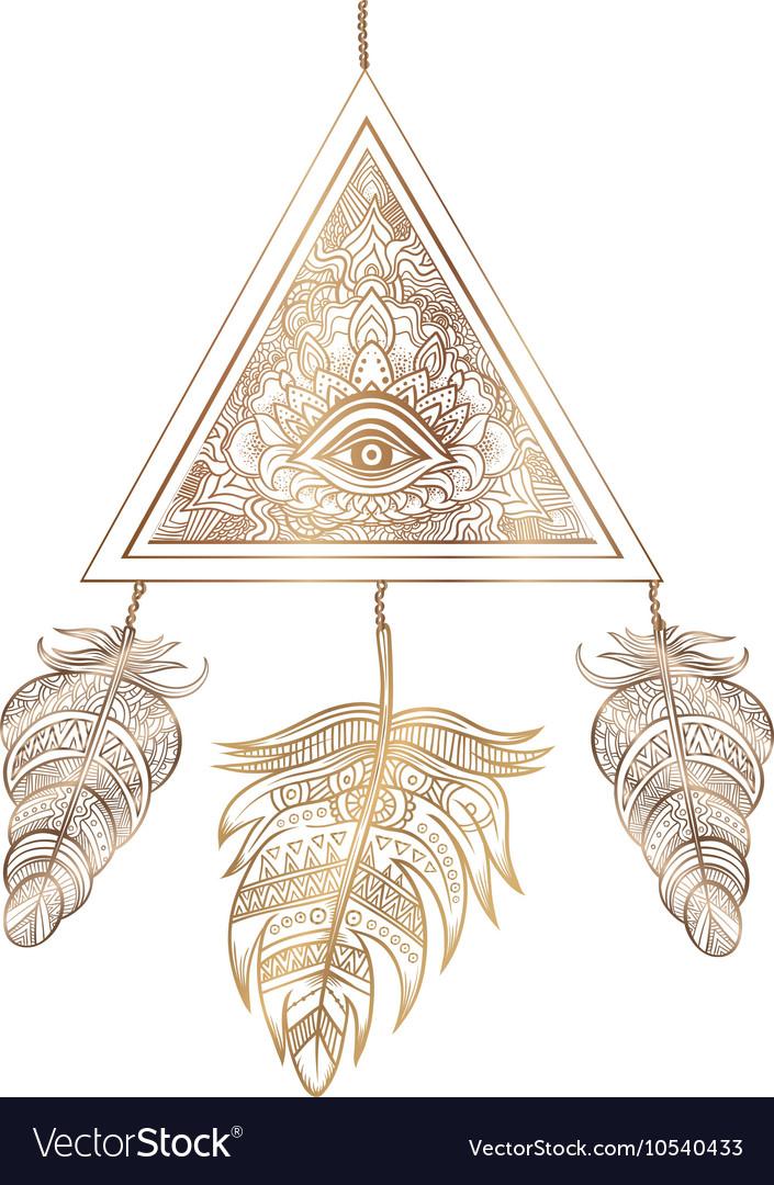 American Indian talisman dreamcatcher with eye