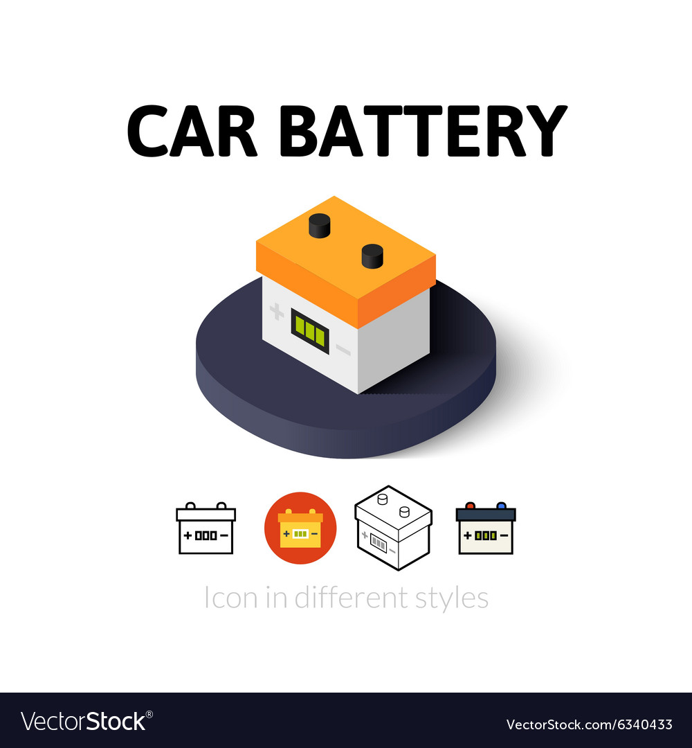 Car Battery Icon In Different Style Royalty Free Vector