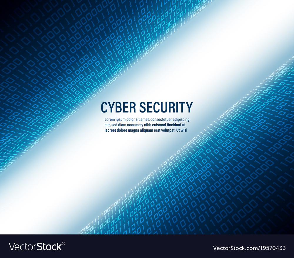 Cyber security concept on binary code background