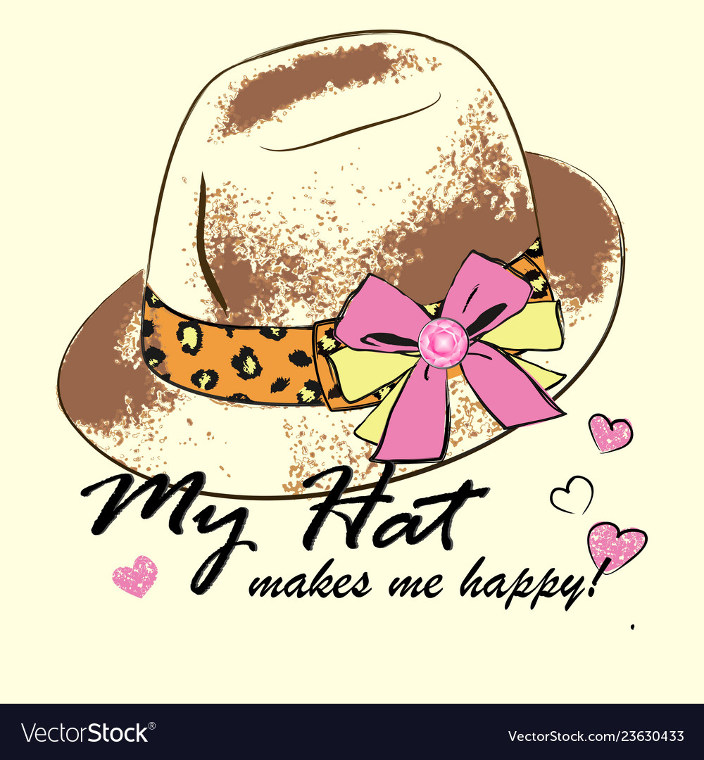 Fashion womens hat with leopard tape and pink bow Vector Image 6425b1d36d4