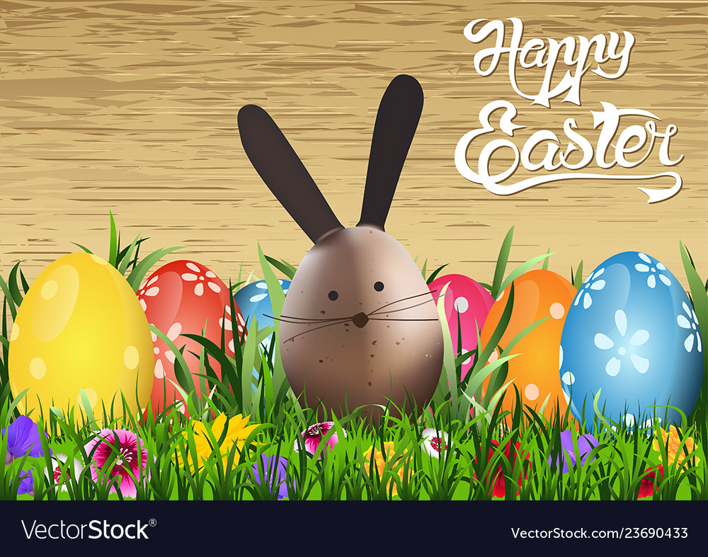 Happy easter greeting card with egg bunny