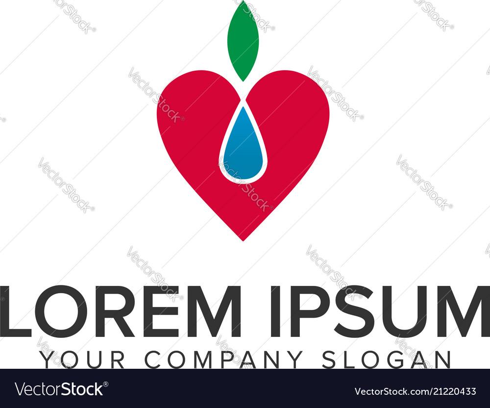 Love nature fruit logo design concept template