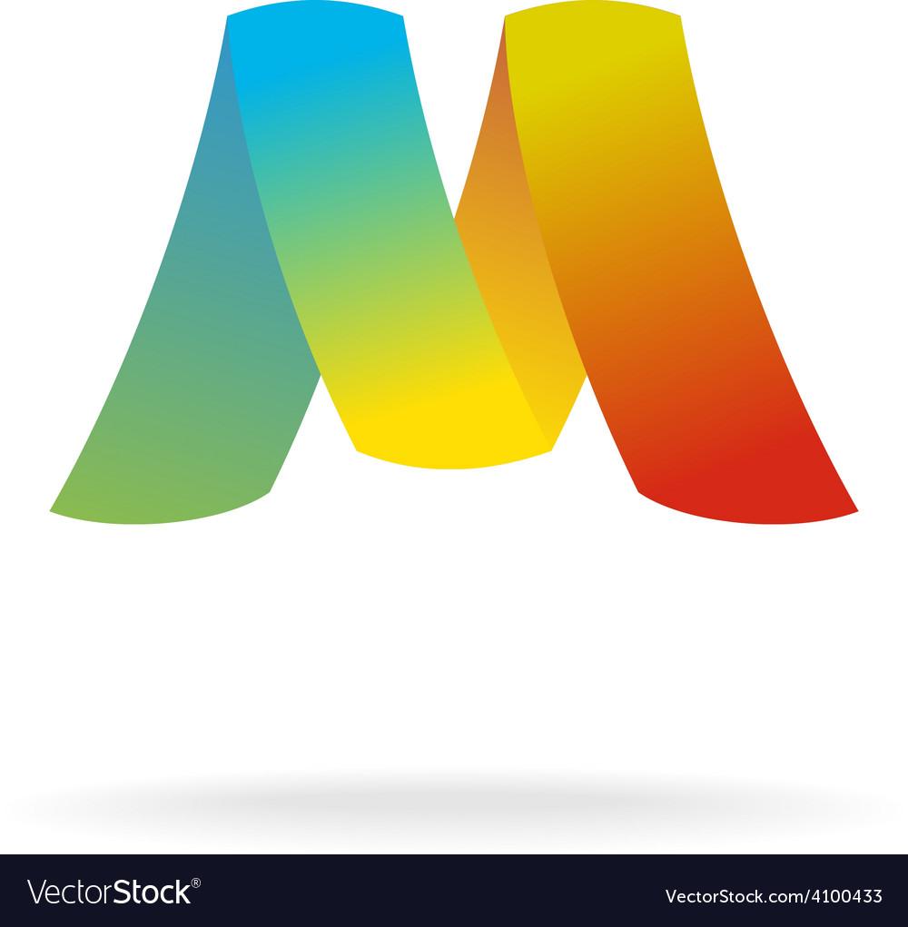 M letter logo template Colorful elegant ribbons