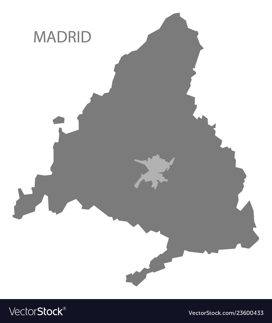 Madrid spain map grey