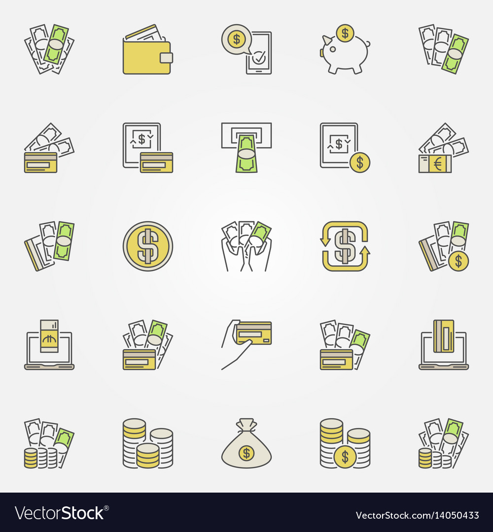 Money and finance colorful icons vector image