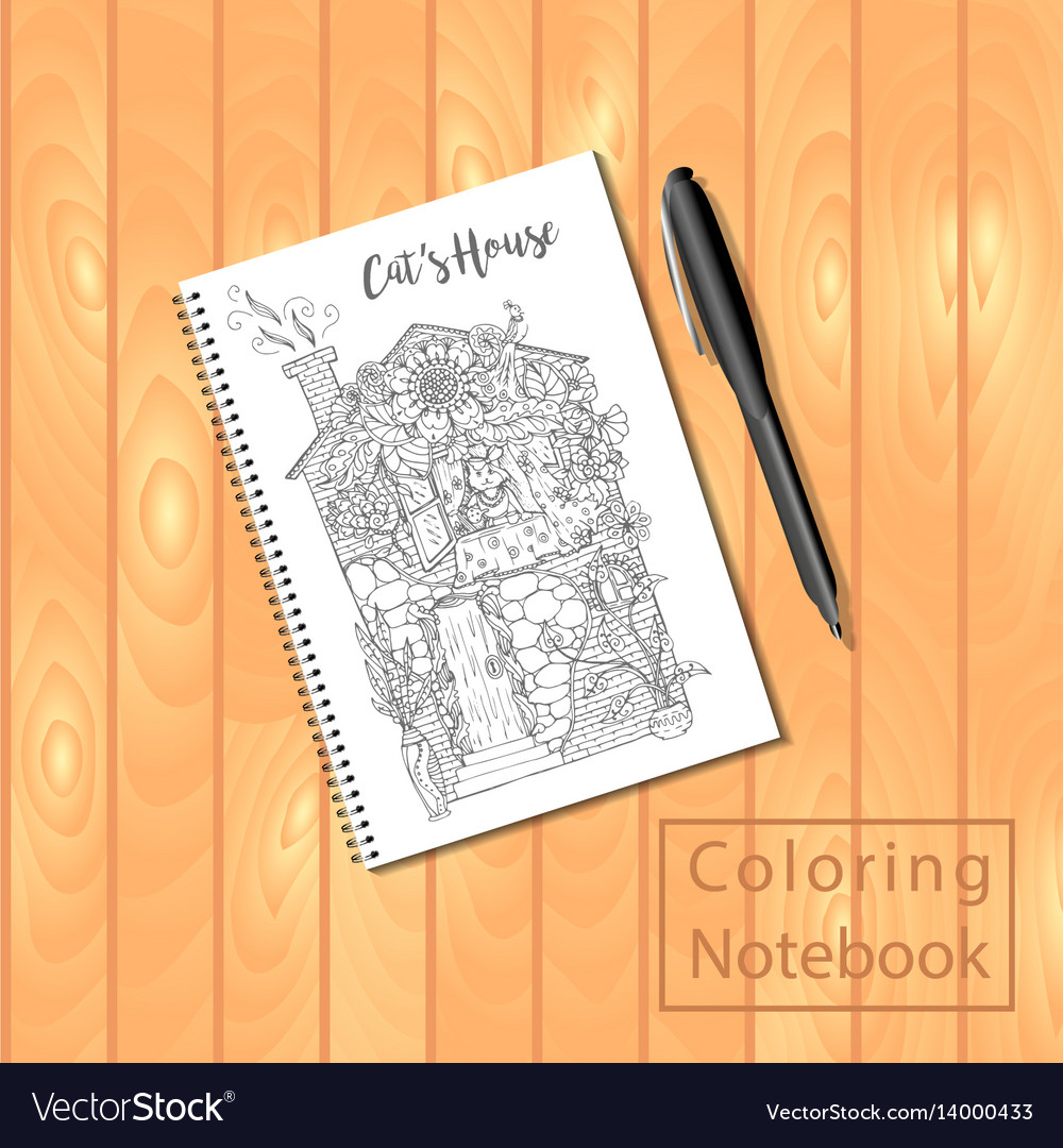 Spiral bound notepad or coloring book with picture