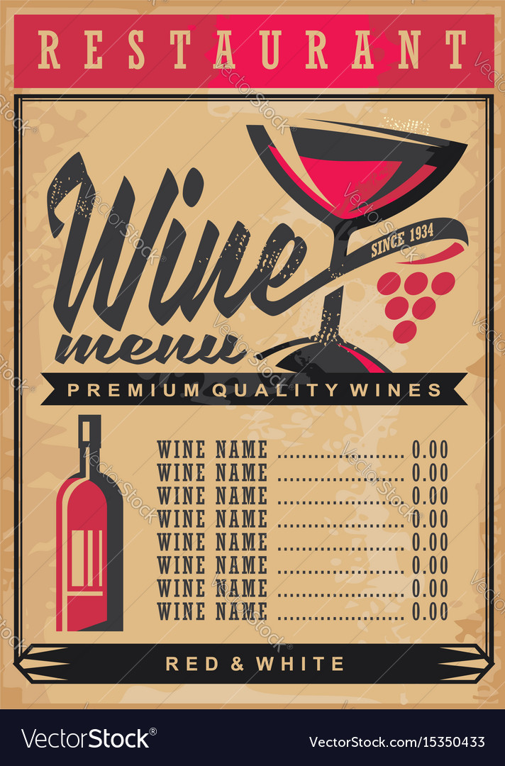 Wine list menu template on old vintage paper backg