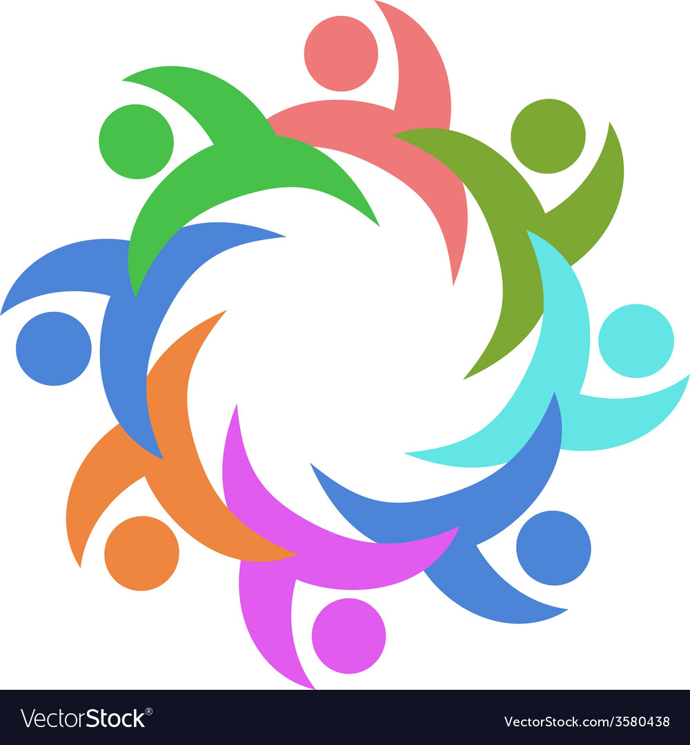 Abstract color people around vector image