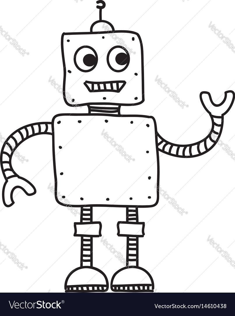 Cartoon robot hand drawn doodle