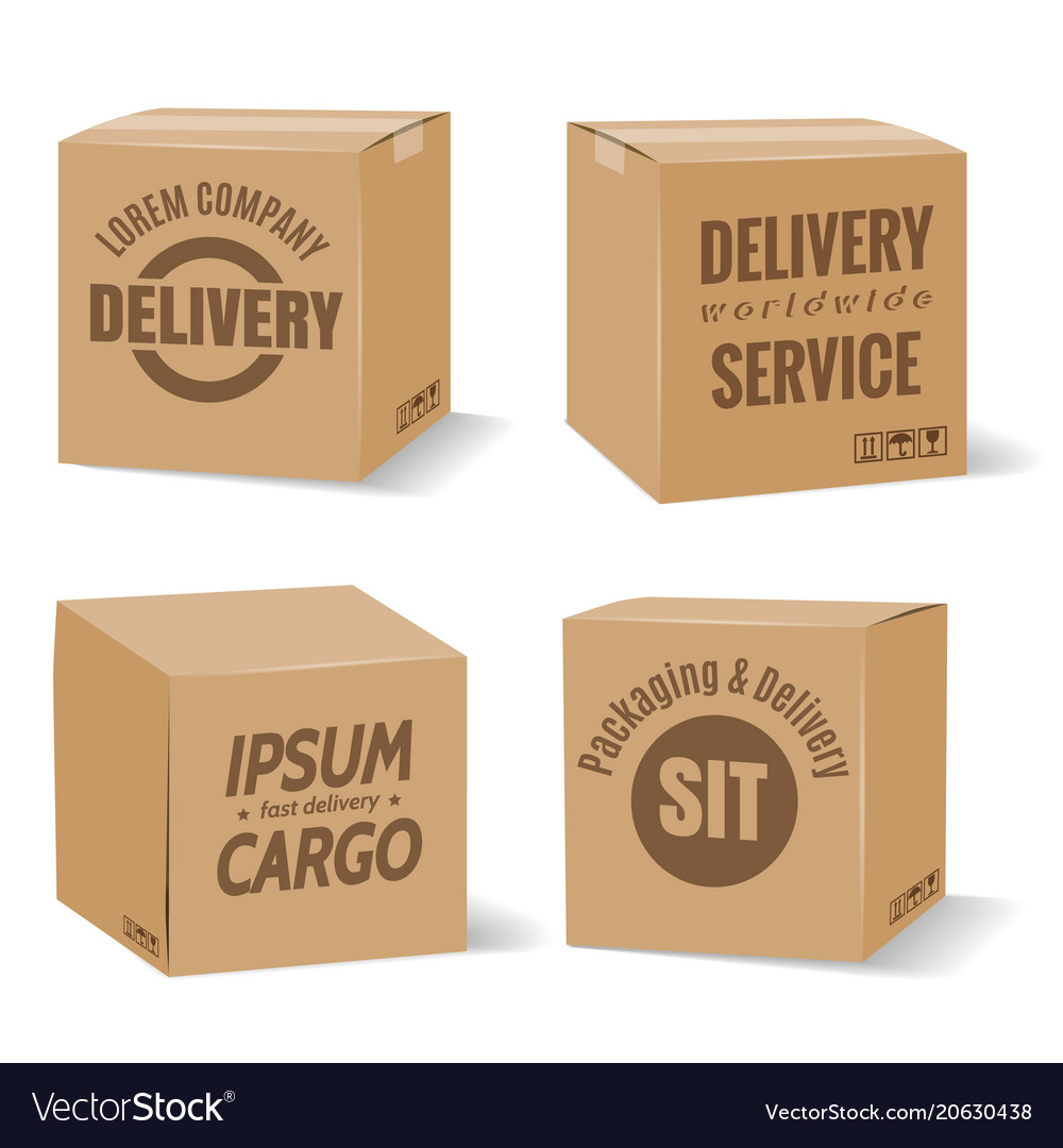 Delivery cardboard boxes with company logo