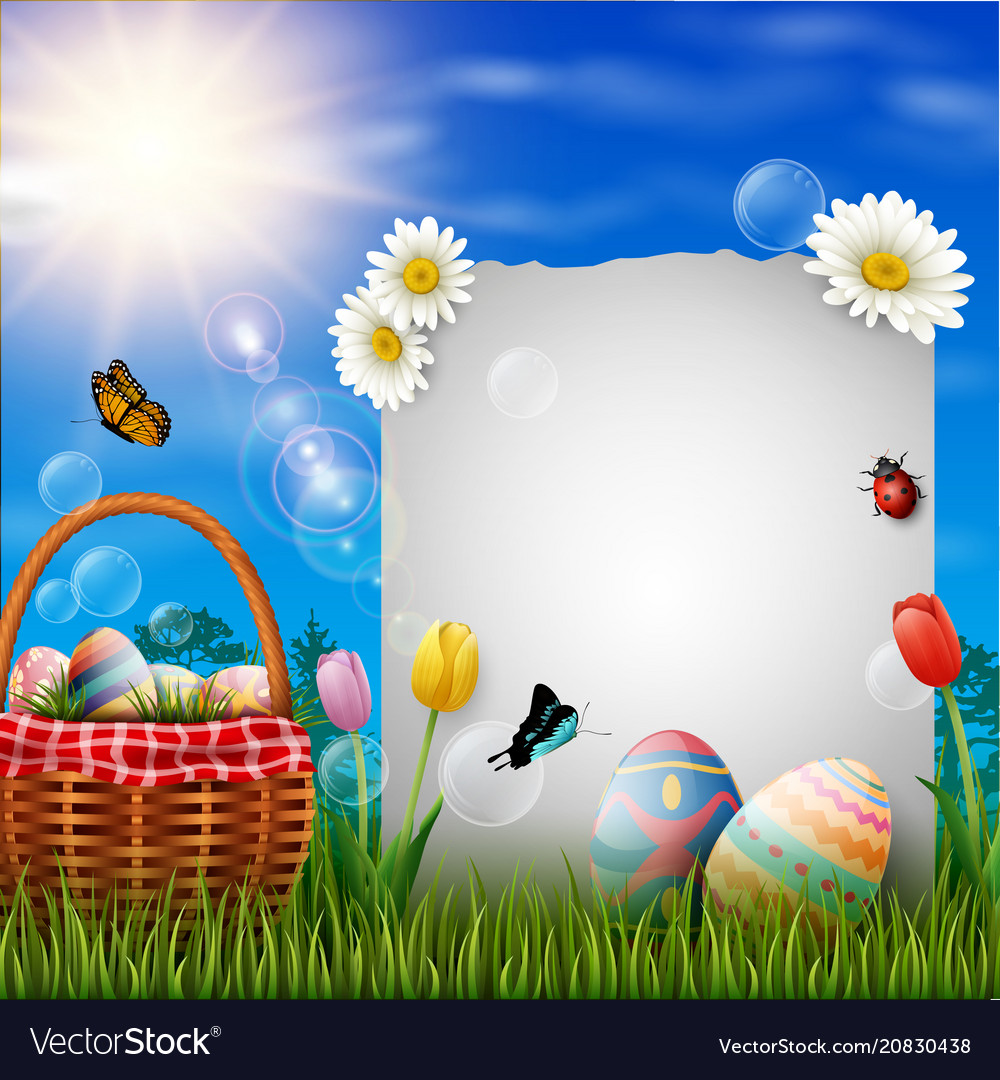 Happy easter eggs with paper and basket on grass