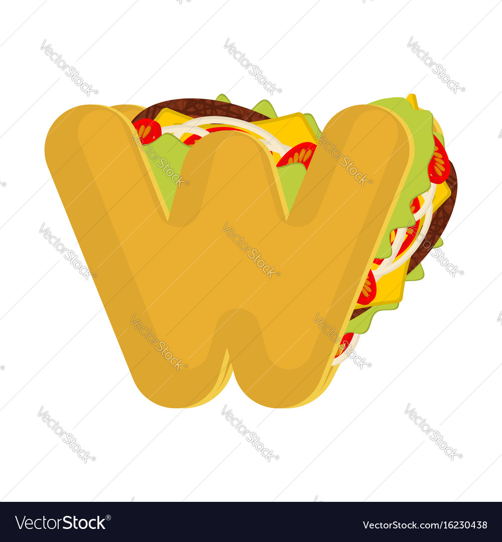 Letter w tacos mexican fast food font taco