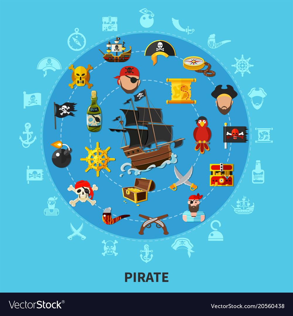 Pirate attributes cartoon composition