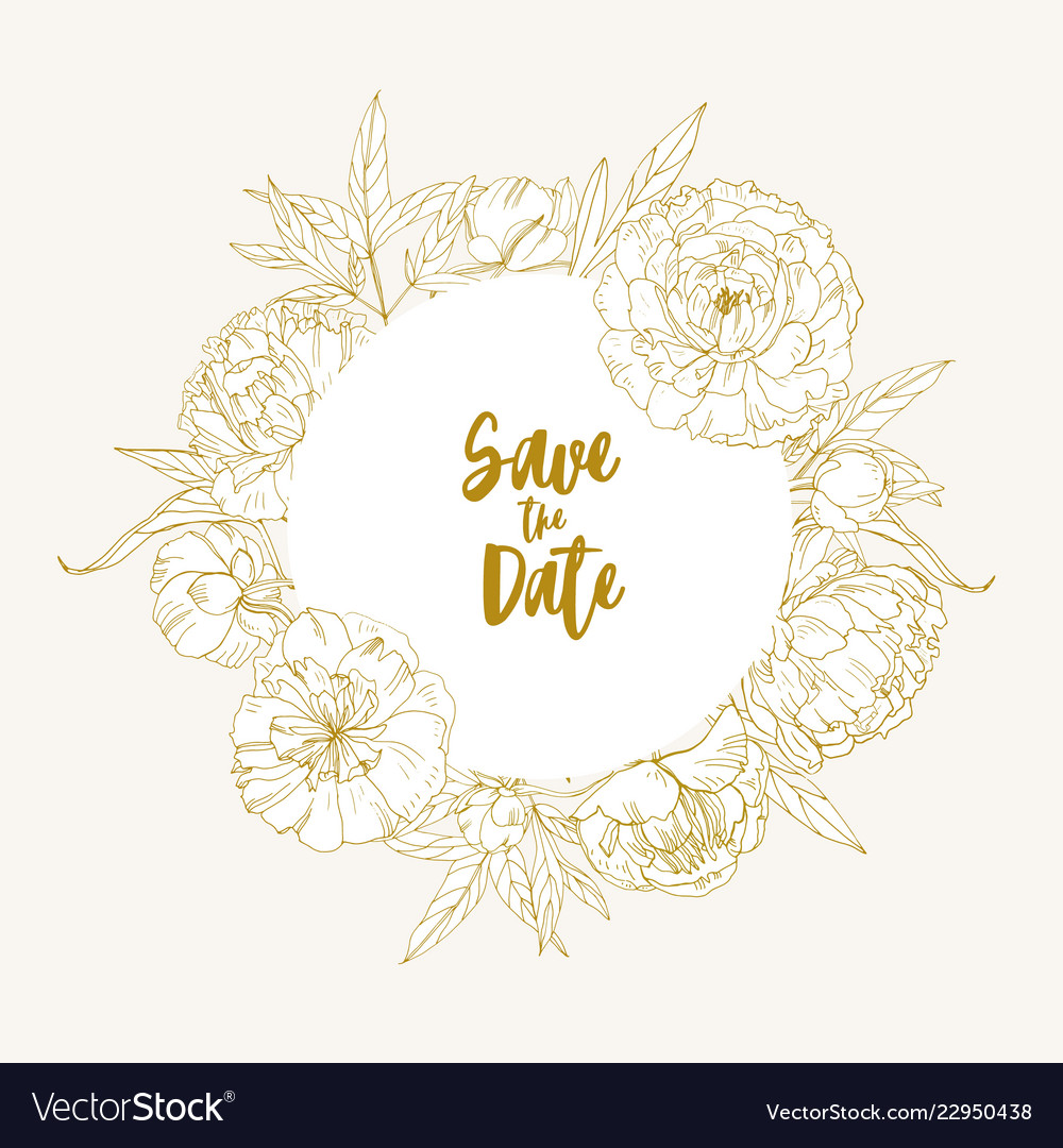 save the date card template decorated with vector image