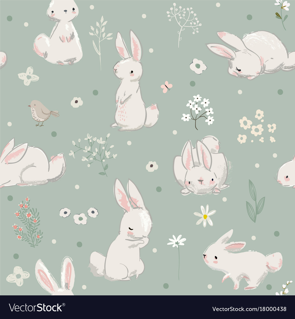 Seamless pattern with cute hares with balloons