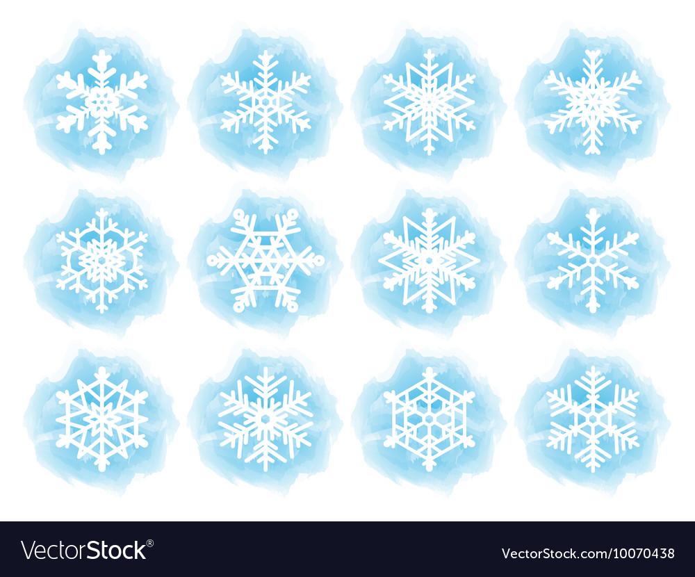 Set of flat snowflake icons