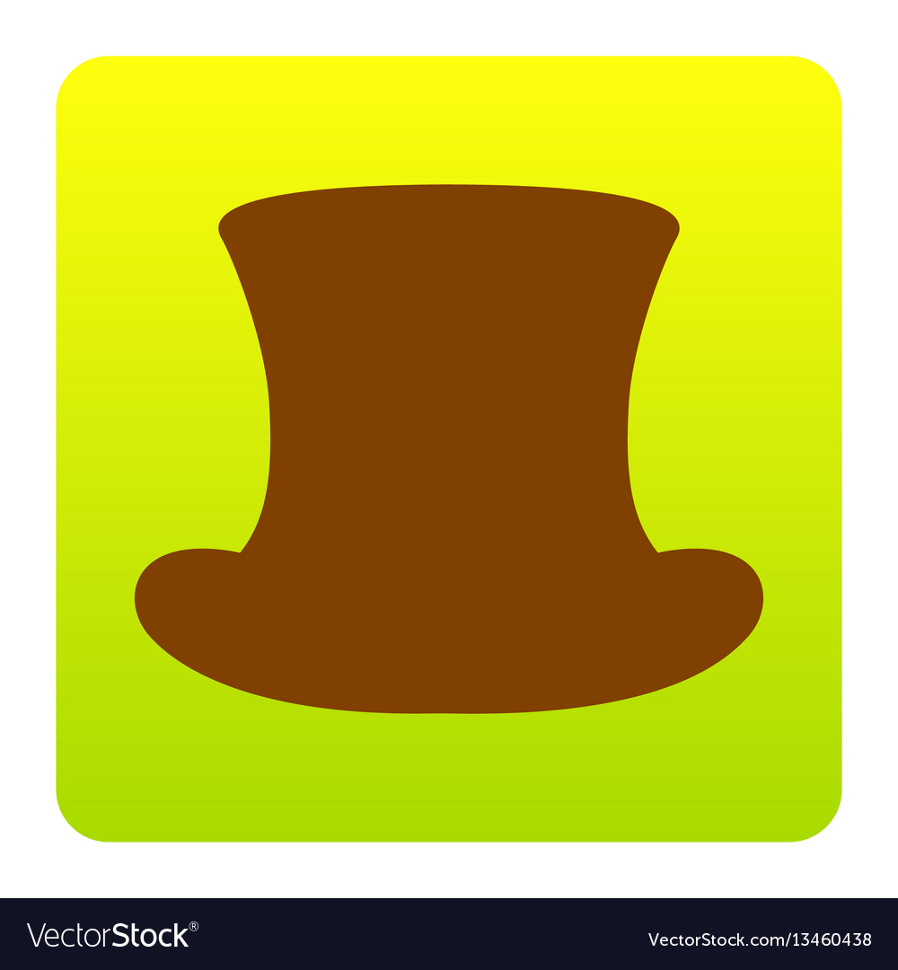 Top hat sign brown icon at green-yellow