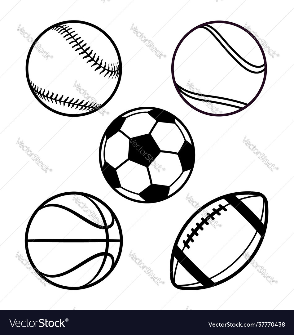 Various cartoon stylized american sports balls