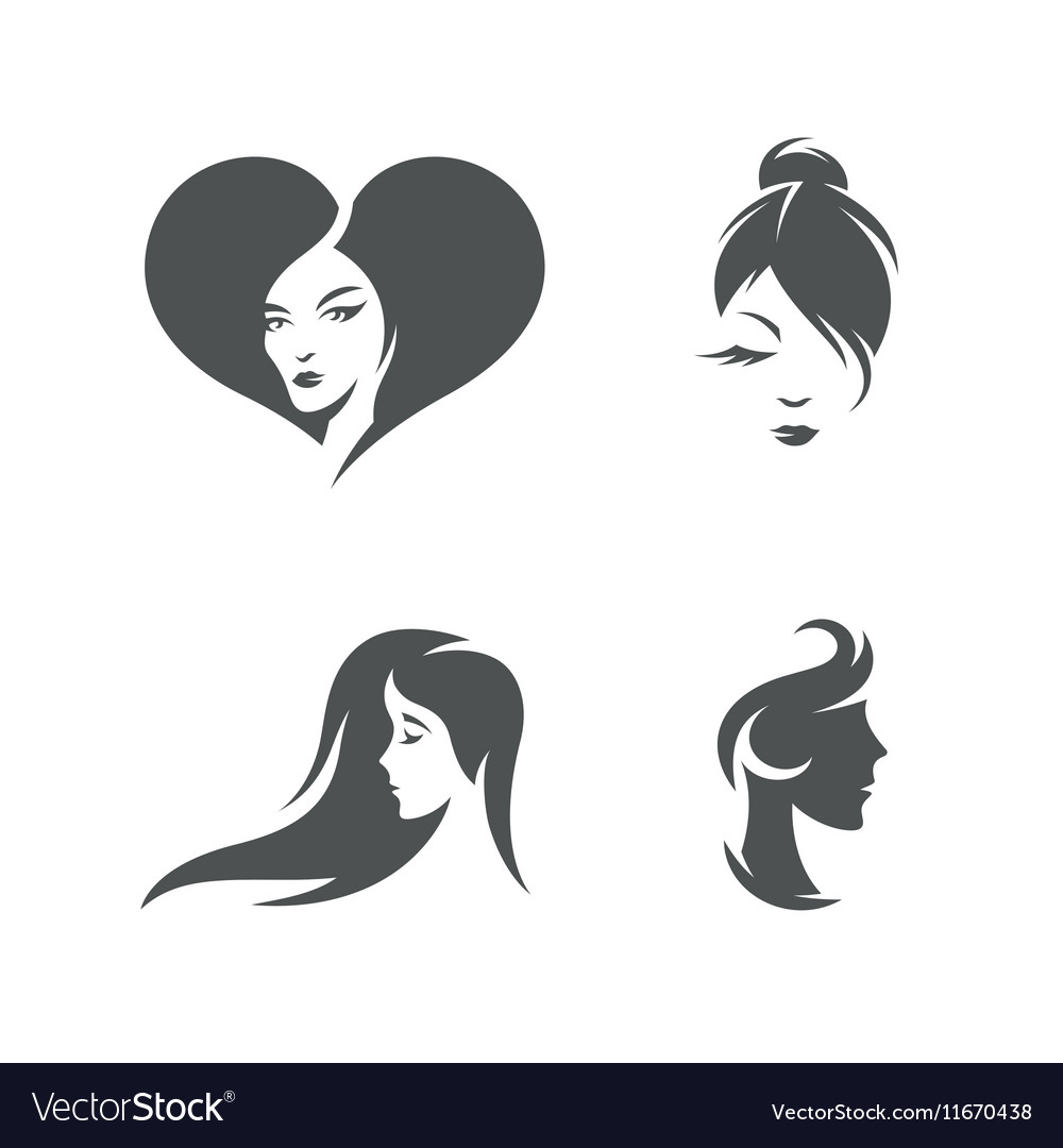 Women faces symbols set vintage