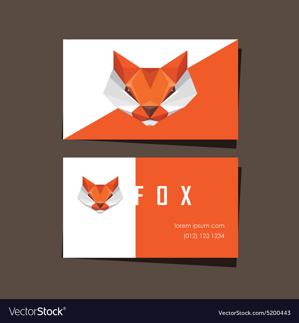 3d Origami Low Polygon Fox Business Card Vector Image